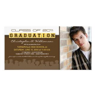 Classy Brown/Lemon Graduation Announcement Photo Card