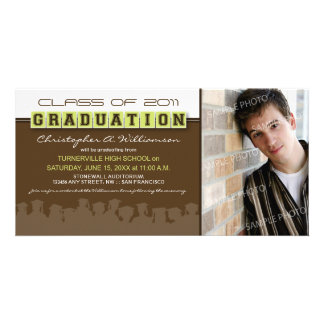 Classy Brown/Lime Graduation Announcement Photo Card Template