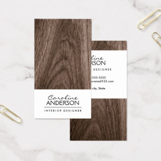 Classy, brown oak wood grain professional profile business card