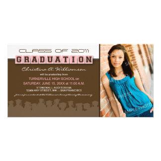 Classy Brown/Pink Graduation Announcement Custom Photo Card