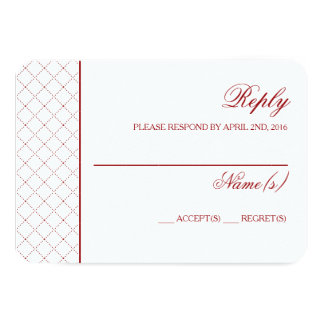 Classy Burgundy Check Pattern Wedding Reply Card 9 Cm X 13 Cm Invitation Card