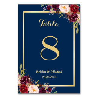 Classy Burgundy Floral Gold Navy Blue Table Number
