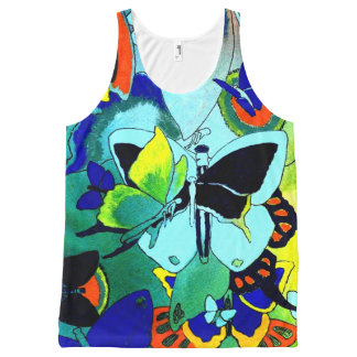 Classy Butterfly Collage Printed All-Over Top All-Over Print Tank Top