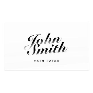 Classy Calligraphic Math Tutor Business Card