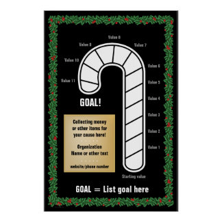 Classy Candy Cane Goal Thermometer Print