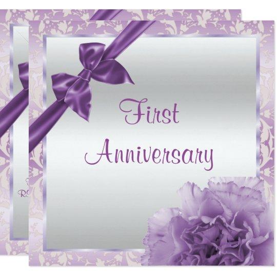 Classy Carnation & Bow 1st Wedding Anniversary Card