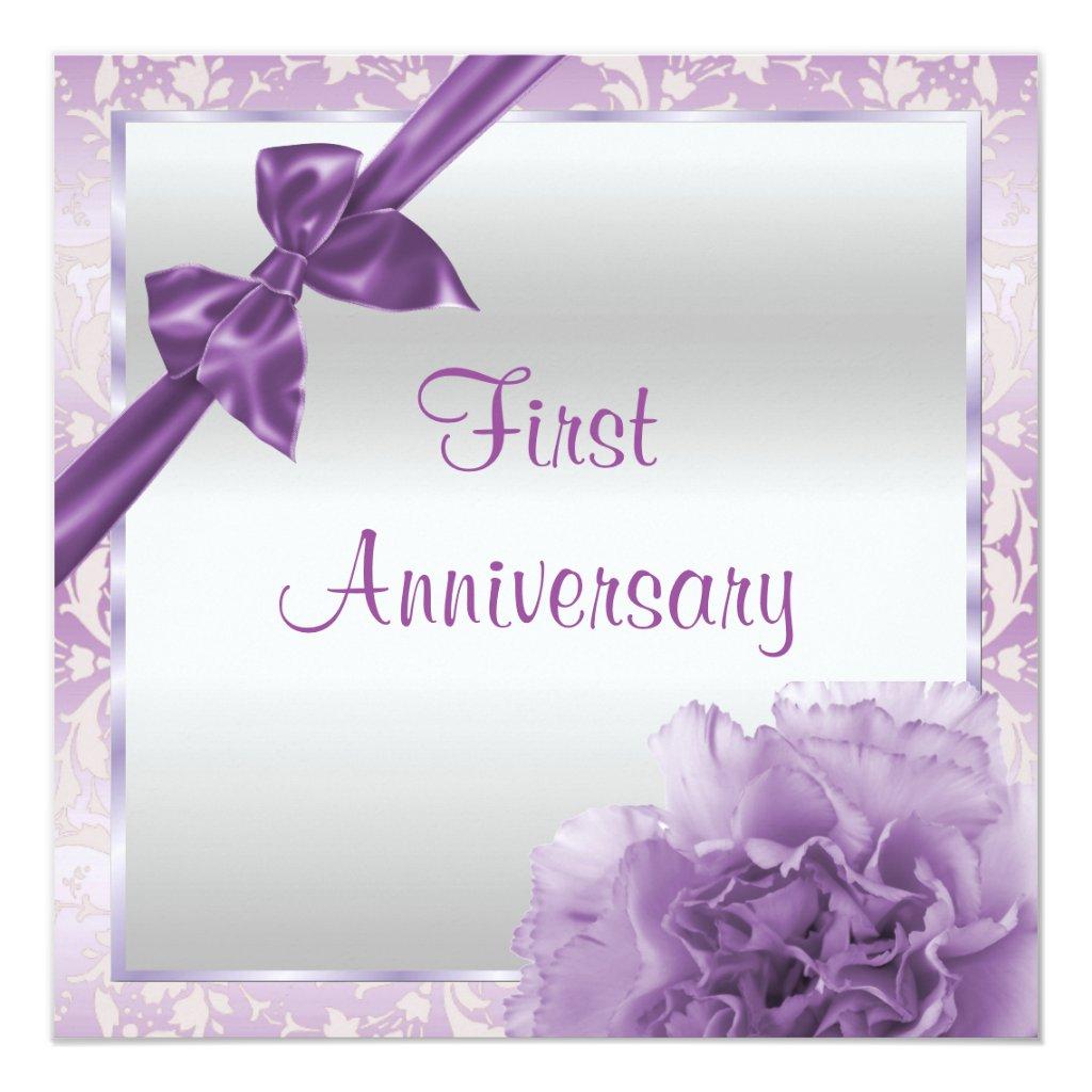 Bow 1st Wedding Anniversary Card