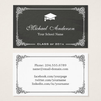 Classy Chalkboard Black White Graduate Student Business Card