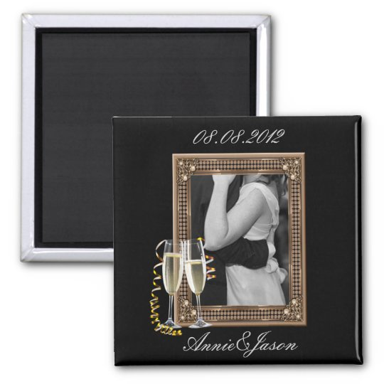 Classy Champagne glasses Wedding Magnet