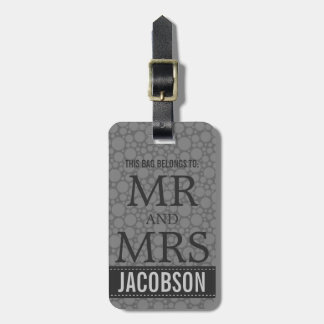 Classy Charcoal Grey Mod Mr and Mrs Personalized Bag Tag