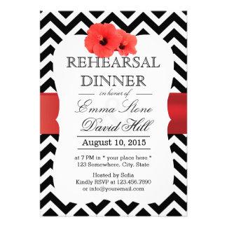 Classy Chevron Red Hibiscus Rehearsal Dinner Custom Invite