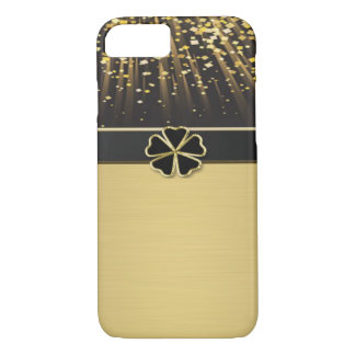 Classy Chic Elegant Irish Shamrock ,Faux Gold iPhone 7 Case