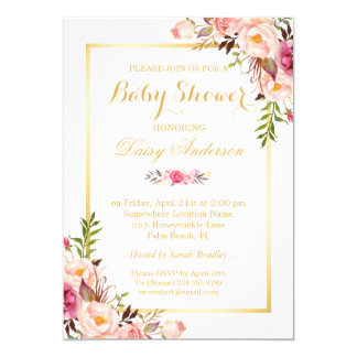 Classy Chic Floral Golden Frame Baby Shower 13 Cm X 18 Cm Invitation Card