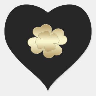 Classy chic  golden lucky shamrock black monogram heart sticker
