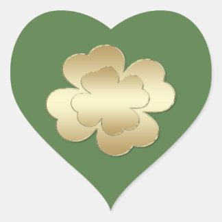 Classy chic  golden lucky shamrock green monogram heart sticker