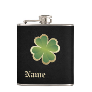 Classy chic golden lucky shamrock leather look hip flask