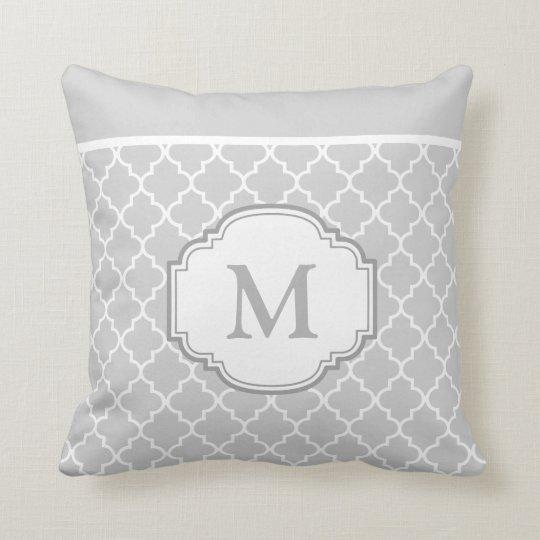 Classy Chic Grey White Moroccan Pattern Monogram Cushion
