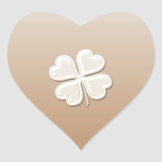 Classy chic pearl lucky shamrock personalized heart sticker