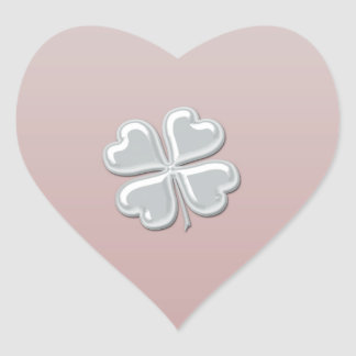 Classy chic pearl lucky shamrock personalized heart sticker