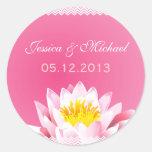 Classy Chic Pink Lotus Flower Wedding Sticker