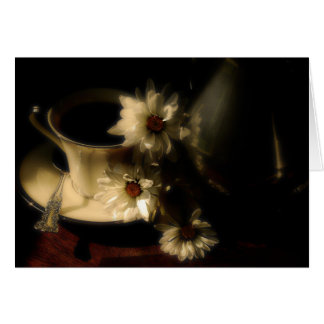 Classy China Coffee Blank Notecard With  Daisies