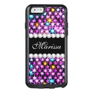Classy Cool Pink Blue Glitter Stars Stylish Black OtterBox iPhone 6/6s Case