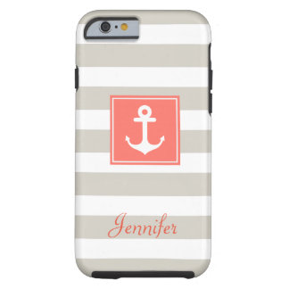 Classy Coral Nautical Anchor Beige White Stripes Tough iPhone 6 Case