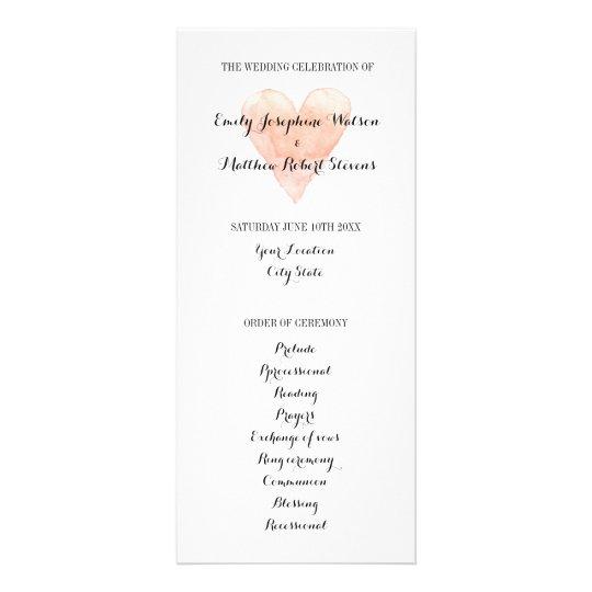 Classy coral pink watercolor heart wedding program rack