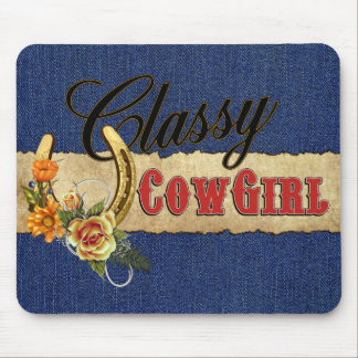 Classy Cowgirl Denim Mouse Pad