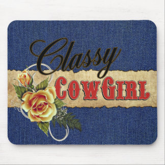 Classy Cowgirl Denim Rose Mouse Pad