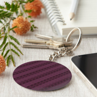 Classy Crimson Stripes - Attractive Red and Purple Basic Round Button Key Ring