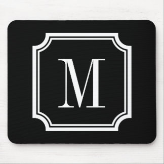 Classy custom monogram mouse pad | Black and white