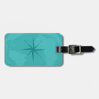 Classy Cyan World Map with Compass Rose Bag Tag