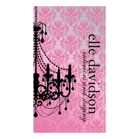 Classy Damask Chandelier Business Card