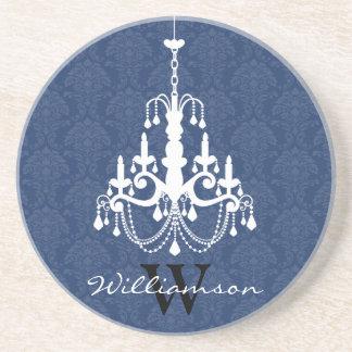 Classy Damask Chandelier Monogram Coaster (blue)