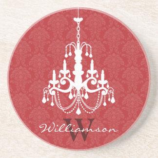 Classy Damask Chandelier Monogram Coaster (red)