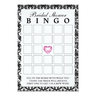 Classy Damask Diamond Heart Bridal Bingo Cards 9 Cm X 13 Cm Invitation Card