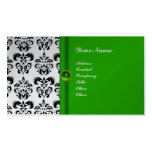 CLASSY DAMASK MONOGRAM green emerald platinum Pack Of Standard Business Cards
