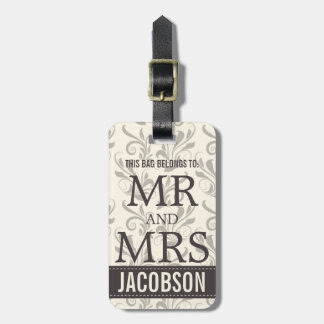 Classy Damask Mr and Mrs Personalized Luggage Tag