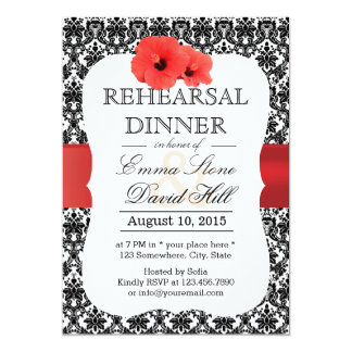 Classy Damask Red Hibiscus Rehearsal Dinner 13 Cm X 18 Cm Invitation Card
