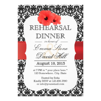 Classy Damask Red Hibiscus Rehearsal Dinner Personalized Invitations