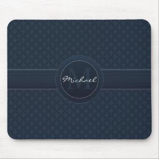 Classy Dark Blue Custom Monogram Mouse Pad