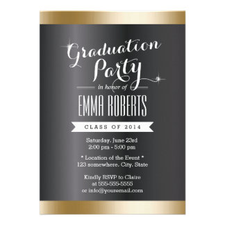 Classy Dark Gold Striped Graduation Party Custom Invitation