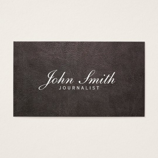 Classy Dark Leather Journalist Business Card