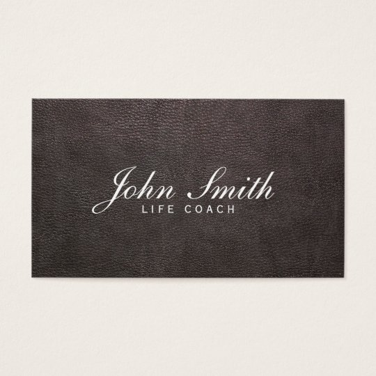 Classy Dark Leather Life Coach Business Card