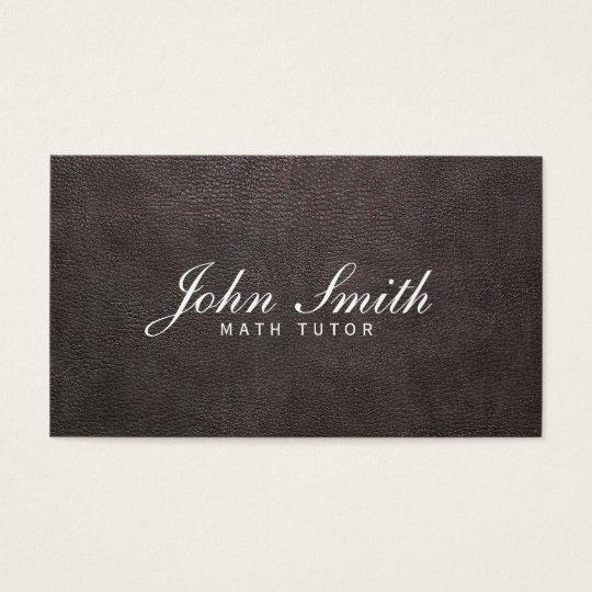 Classy Dark Leather Math Tutor Business Card
