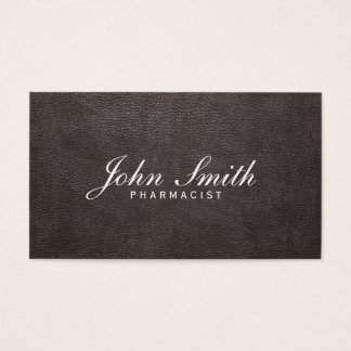Classy Dark Leather Pharmacist Business Card