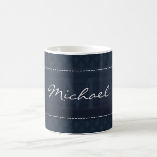 Classy Dark Navy Blue Custom Monogram Coffee Mug