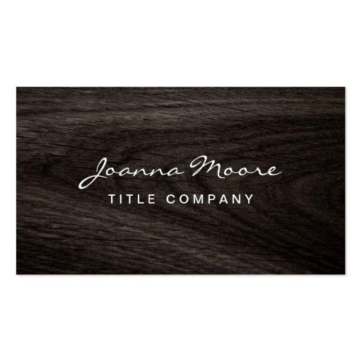 Classy dark oak wood grain professional profile business card templates