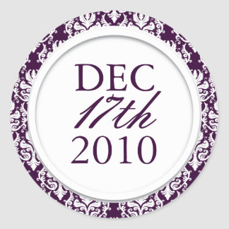 Classy Dark Purple Wedding Stickers